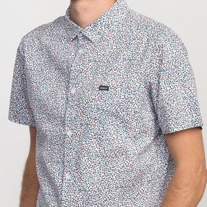 """RVCA White Slim Fit """"Happy Thoughts"""" Shirt Size L"""
